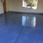 Blue garage flooring from Majestic Construction OK