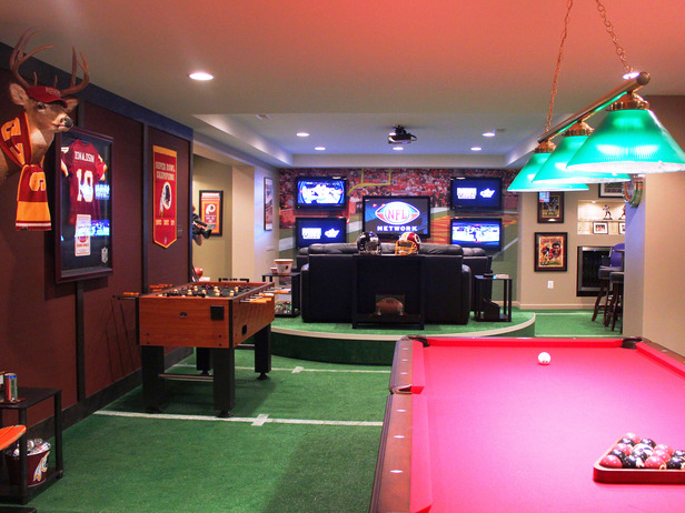 Man caves for sports fanatics majestic construction for Man cave garage floor ideas