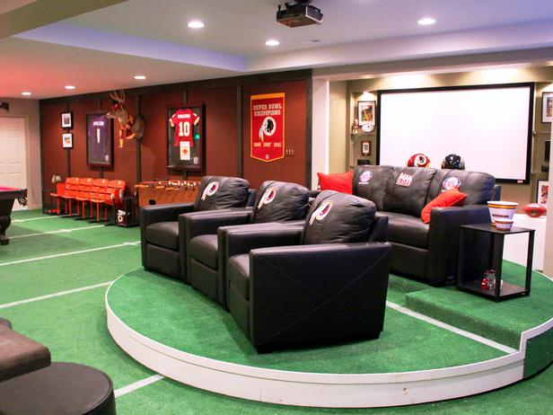 Man Cave Ideas In A Basement : Man caves for sports fanatics majestic construction