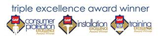 Logo for Majestic's Triple Excellence Award for Consumer Protection, Installation, & Training from GAF